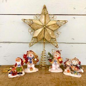 Christmas Tree Topper Star & Ceramic Ornaments
